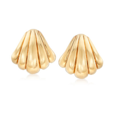 Italian 18kt Yellow Gold Seashell Clip-On Earrings, , default