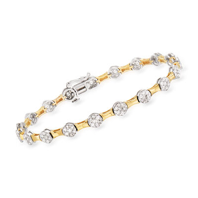 2.00 ct. t.w. Diamond Bamboo Bracelet in 14kt Two-Tone Gold