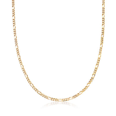 C. 1990 Vintage 3.7mm 14kt Yellow Gold Figaro Chain Necklace, , default