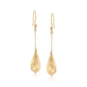 Italian 18kt Yellow Gold Diamond-Cut Teardrop Earrings, , default