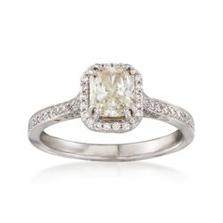 C. 2000 Vintage 1.28 ct. t.w. Light Yellow and White Diamond Ring in 14kt and 18kt White Gold. Size 6.5, , default