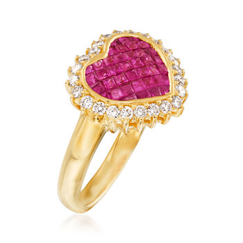.90 ct. t.w. Ruby and .38 ct. t.w. Diamond Ring in 18kt Yellow Gold, , default