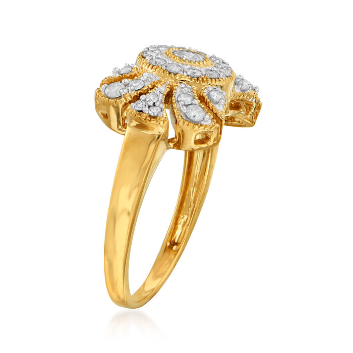 .50 ct. t.w. Diamond Open-Space Bow Ring in 18kt Gold Over Sterling