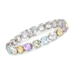 37.25 ct. t.w. Multi-Stone Tennis Bracelet in Sterling Silver, , default