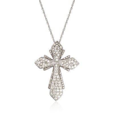 1.00 ct. t.w. Diamond Cross Pendant Necklace in Sterling Silver