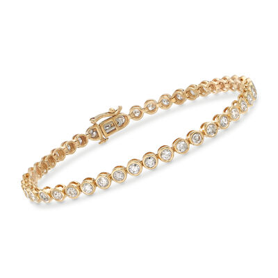 3.00 ct. t.w. Bezel-Set Diamond Tennis Bracelet in 14kt Yellow Gold