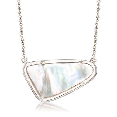 Mother-Of-Pearl Necklace in Sterling Silver, , default