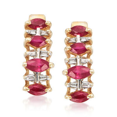 C. 1980 Vintage 1.00 ct. t.w. Ruby and .12 ct. t.w. Diamond Earrings in 10kt Yellow Gold, , default