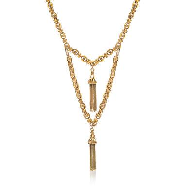 C. 1930 Vintage 15kt Yellow Gold Tassel Link Necklace
