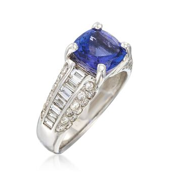 C. 1990 Vintage 2.25 Carat Tanzanite and 1.75 ct. t.w. Diamond Ring in 18kt White Gold. Size 8