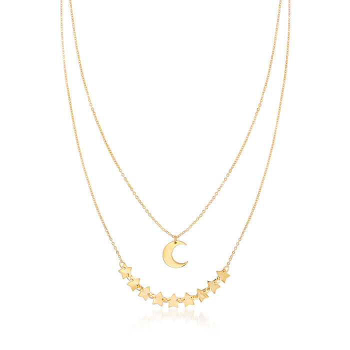 Italian 14kt Yellow Gold Crescent Moon and Stars Layered Necklace