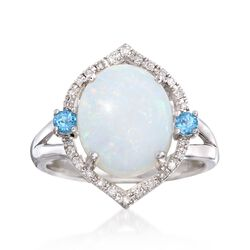 12x10mm Opal and 2.00 ct. t.w. Blue Topaz Ring With Diamonds in Sterling Silver, , default