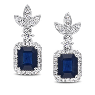1.80 ct. t.w. Sapphire and .33 ct. t.w. Diamond Drop Earrings in 14kt White Gold