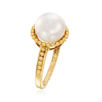 9.5-10mm Cultured Pearl and Beaded Ring in 14kt Yellow Gold