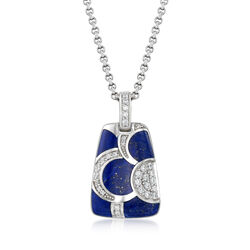"Belle Etoile ""Adina"" Lapis and .45 ct. t.w. CZ Pendant in Sterling Silver  , , default"