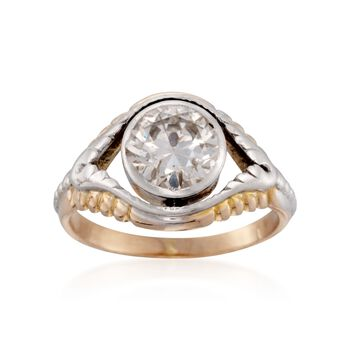 C. 1970 Vintage Bezel-Set 1.60 Carat Diamond Solitaire Ring in Two-Tone. Size 5.75, , default