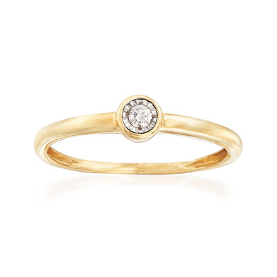 Bezel-Set Diamond-Accented Ring in 14kt Yellow Gold, , default