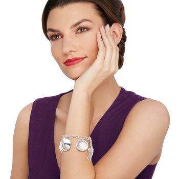"Sterling Silver Sealife Charm Toggle Bracelet. 7.5"""