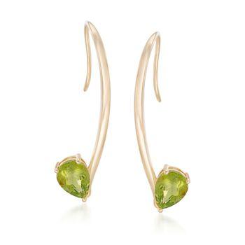 2.00 ct. t.w. Peridot Linear Earrings in 18kt Gold Over Sterling, , default