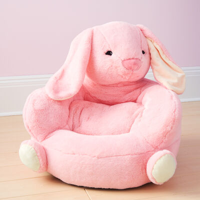 Children's Plush Pink Bunny Chair, , default