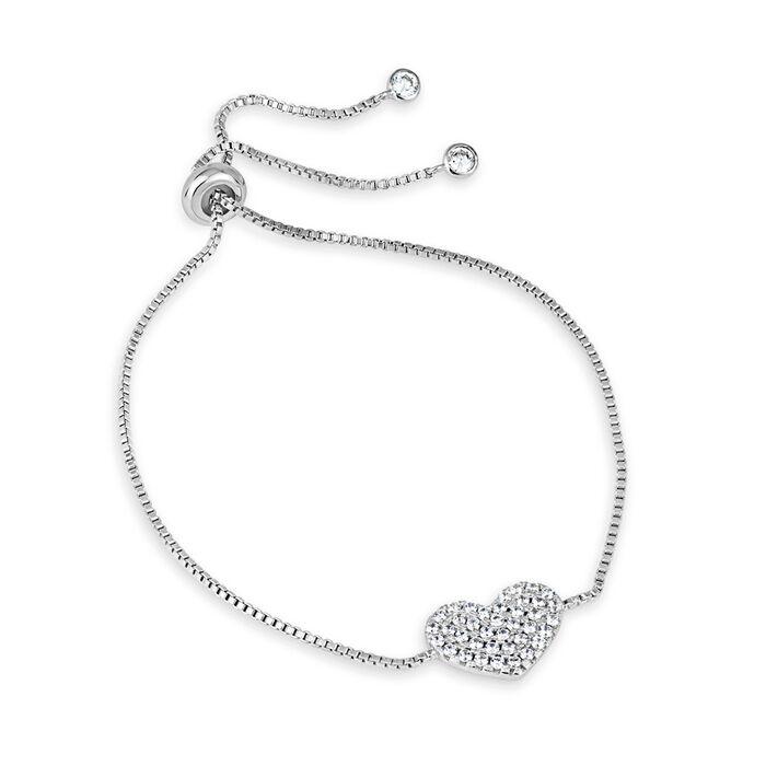 .64 ct. t.w. CZ Heart Bolo Bracelet in Sterling Silver