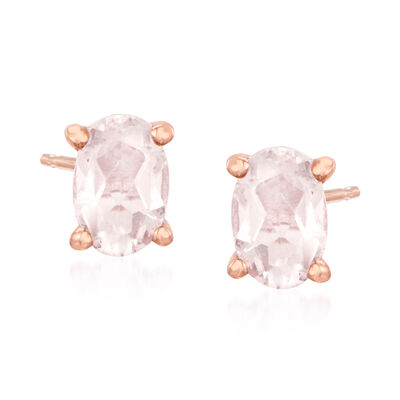 .86 ct. t.w. Morganite Stud Earrings in 18kt Rose Gold Over Sterling