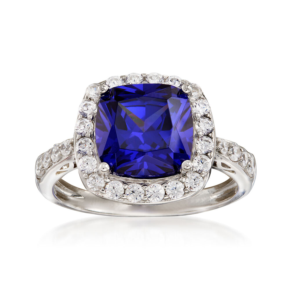 Simulated Tanzanite: Simulated Tanzanite And .60 Ct. T.w. CZ Ring In Sterling