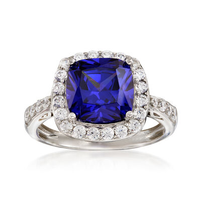 Simulated Tanzanite and .60 ct. t.w. CZ Ring in Sterling Silver, , default
