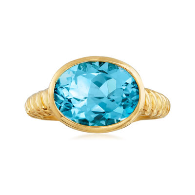 6.75 Carat Oval Sky Blue Topaz Ring in 18kt Gold Over Sterling, , default