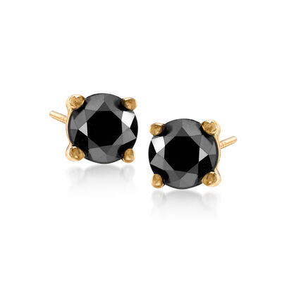 1.00 ct. t.w. Black Diamond Stud Earrings in 14kt Yellow Gold, , default