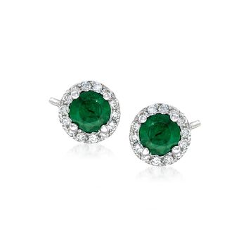 .40 ct. t.w. Emerald and .15 ct. t.w. Diamond Halo Earrings in 14kt White Gold , , default