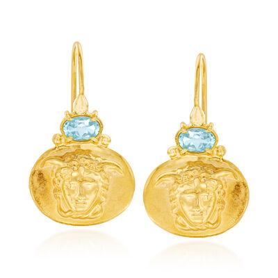 Italian 1.40 ct. t.w. Blue Topaz Medusa Drop Earrings in 18kt Gold Over Sterling, , default