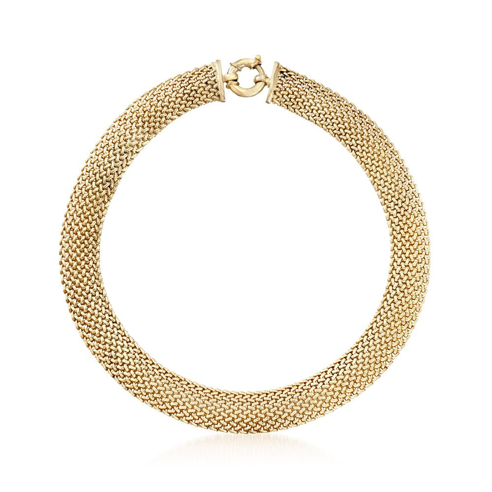"""a9b486f1f Italian 18kt Yellow Gold Over Sterling Silver Mesh Necklace. 18"""", ,  default"""
