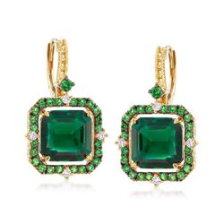 """Judith Ripka """"Lila"""" 6.50 ct. t.w. Synthetic Green Quartz and .91 ct. t.w. Chrome Diopside Earrings With Diamonds in 18kt Gold, , default"""