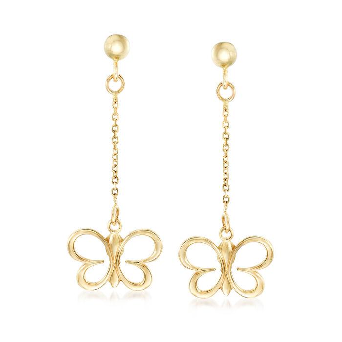 Italian 14kt Yellow Gold Butterfly Drop Earrings, , default