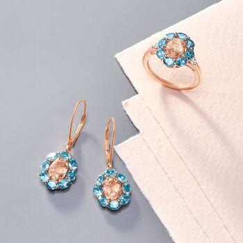 2.10 ct. t.w. Morganite and 2.70 ct. t.w. Santa Maria Aquamarine Drop Earrings in 14kt Rose Gold, , default