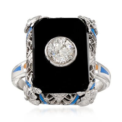 C. 1950 Vintage Black Onyx and Diamond Ring in 14kt White Gold, , default