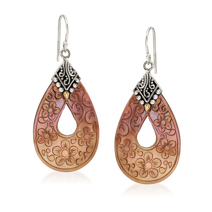 Brown Mother-Of-Pearl Floral Drop Earrings with Sterling Silver and 18kt Yellow Gold, , default
