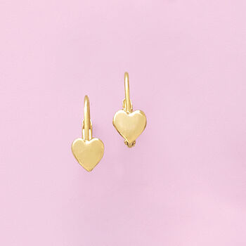 Child's 14kt Yellow Gold Heart Drop Earrings, , default