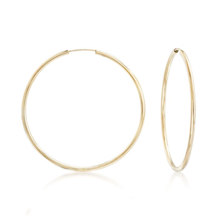 "2mm 14kt Yellow Gold Endless Hoop Earrings. 1 7/8"", , default"