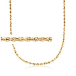 5.5mm 14kt Yellow Gold Rope Chain Necklace, , default