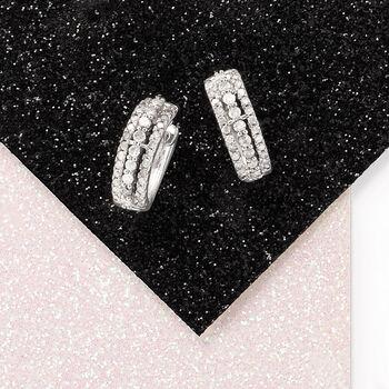 """.50 ct. t.w. Diamond Huggie Hoop Earrings in 14kt White Gold. 3/8"""""""