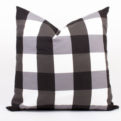 Set of 2 Black and White Gingham Throw Pillows, , default