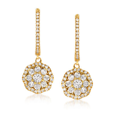 .75 ct. t.w. Diamond Floral Hoop Drop Earrings in 14kt Yellow Gold