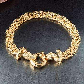 "Italian 18kt Gold Over Sterling Silver Double Snake Head Byzantine Bracelet. 7.75"", , default"