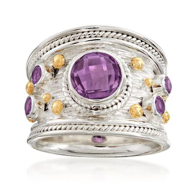 3.20 ct. t.w. Amethyst Ring in Two-Tone Sterling Silver, , default