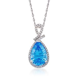 "3.50 Carat Blue Topaz and .15 ct. t.w. Diamond Pendant Necklace in Sterling Silver. 18"", , default"