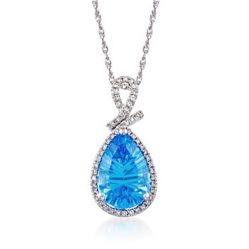 """3.50 Carat Blue Topaz and .15 ct. t.w. Diamond Pendant Necklace in Sterling Silver. 18"""", , default"""