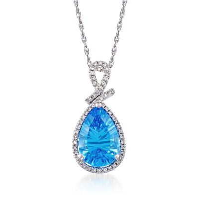 3.50 Carat Blue Topaz and .15 ct. t.w. Diamond Pendant Necklace in Sterling Silver, , default