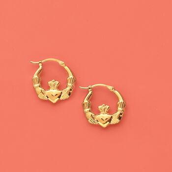 "14kt Yellow Gold Claddagh Hoop Earrings. 5/8"", , default"